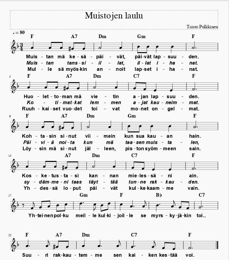 Muistojen laulu